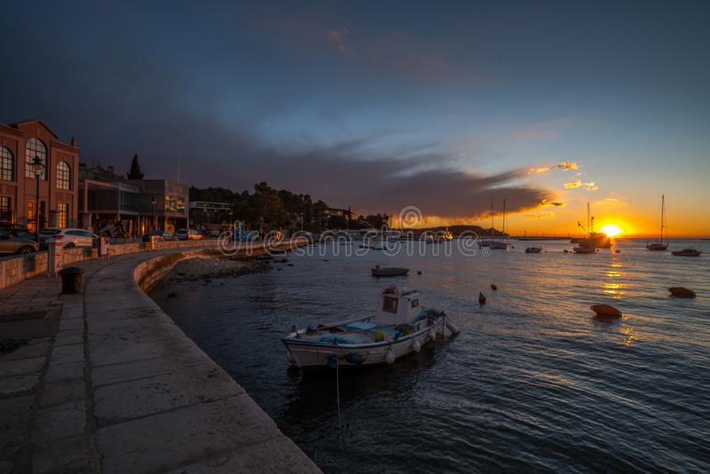 Rovinj, Istria, Croatia, detail. Sunset in Town Rovinj Istria, Croatia, photographed with my Nikon D750 at Winter afternoon royalty free stock photo