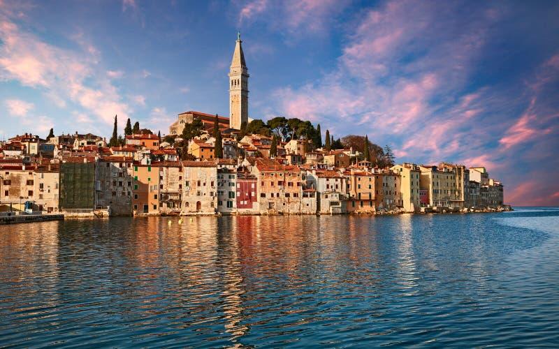 Rovinj, Istria, Croatia: landscape at sunrise of the town overlooking the Adriatic sea stock images