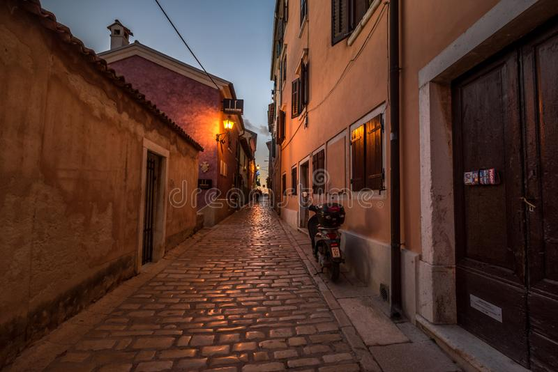 Rovinj, Istria, Croatia, Street detail at late Afternoon. Street detail in Town Rovinj Istria, Croatia, photographed with my Nikon D750 at Winter afternoon stock photography