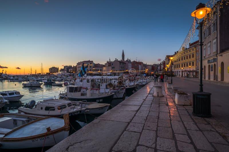 Rovinj, Istria, Croatia, Street detail. Sunset in Town Rovinj Istria, Croatia, photographed with my Nikon D750 at Winter afternoon stock photo