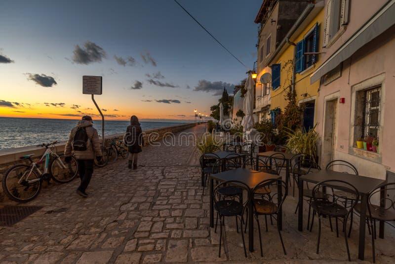 Rovinj, Istria, Croatia, walking. Walking trough Street of Town Rovinj Istria, Croatia, photographed with my Nikon D750 at Winter afternoon stock images