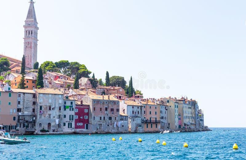 Rovinj Istria sommartid 1 arkivbild