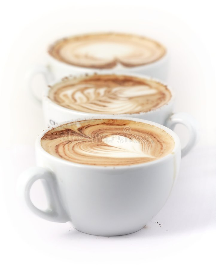 Row of 3 cappuccino cup stock photo