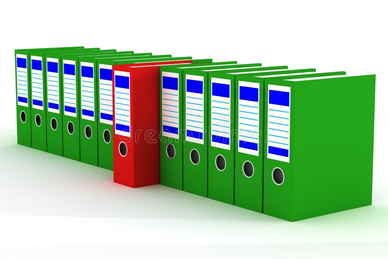 Download Row Of Accounting Folders On A White Background. Stock Illustration - Image: 5812092
