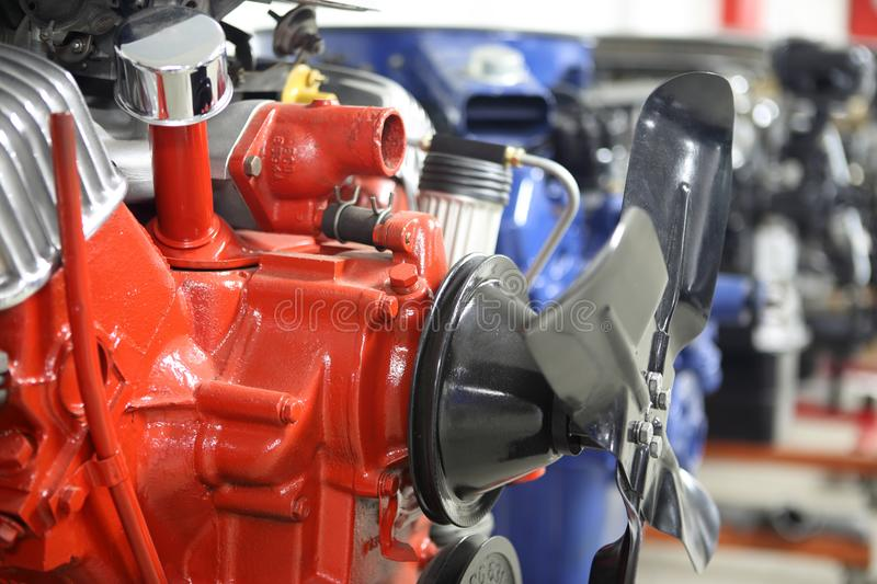 Row of American V8 engines. In an automotive shop royalty free stock photos
