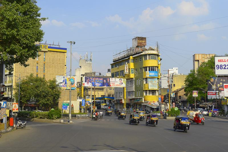 Row of auto rickshaws on Lokmanya Tilak chowk near Alka talkies stock images