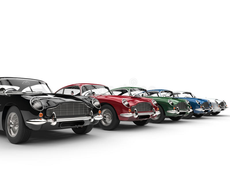 Row of awesome vintage cars - on white background vector illustration