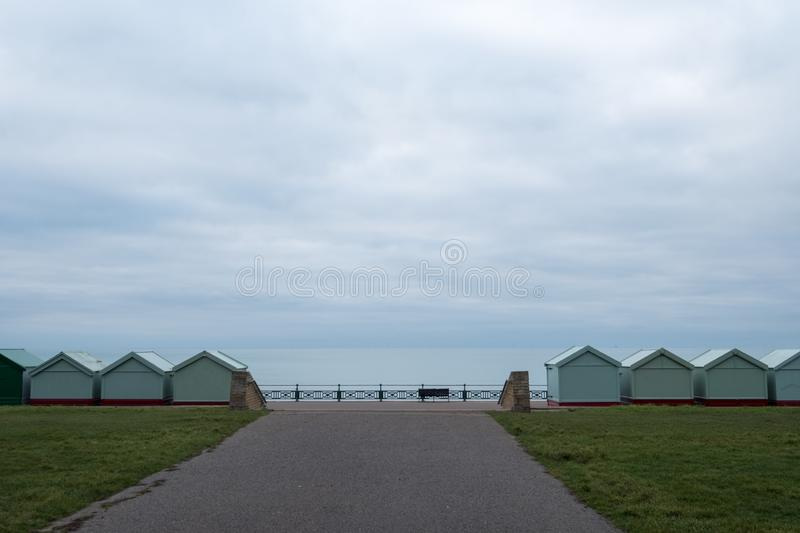 Row of beach huts on the sea front in Hove, Sussex UK. Row of beach huts on the sea front in Hove, East Sussex uK royalty free stock photography