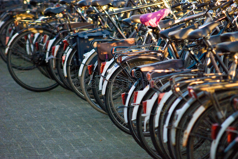 Row of bicycles royalty free stock photography