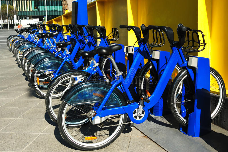 Row of bicycles for rent stock photos