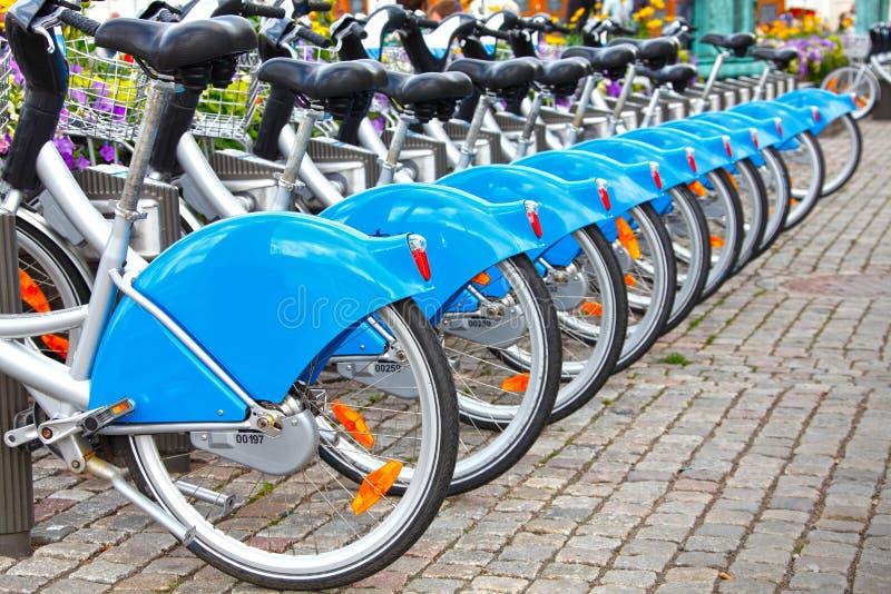 Row of bikes / bicycles royalty free stock photos