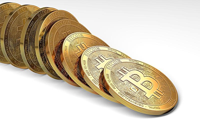 Row of bitcoins collapsing as domino effect. Uncertain bitcoin position on the market concept. stock illustration