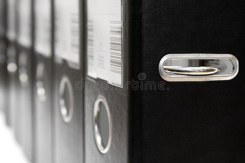 Row of Black Arch Lever Files royalty free stock photos