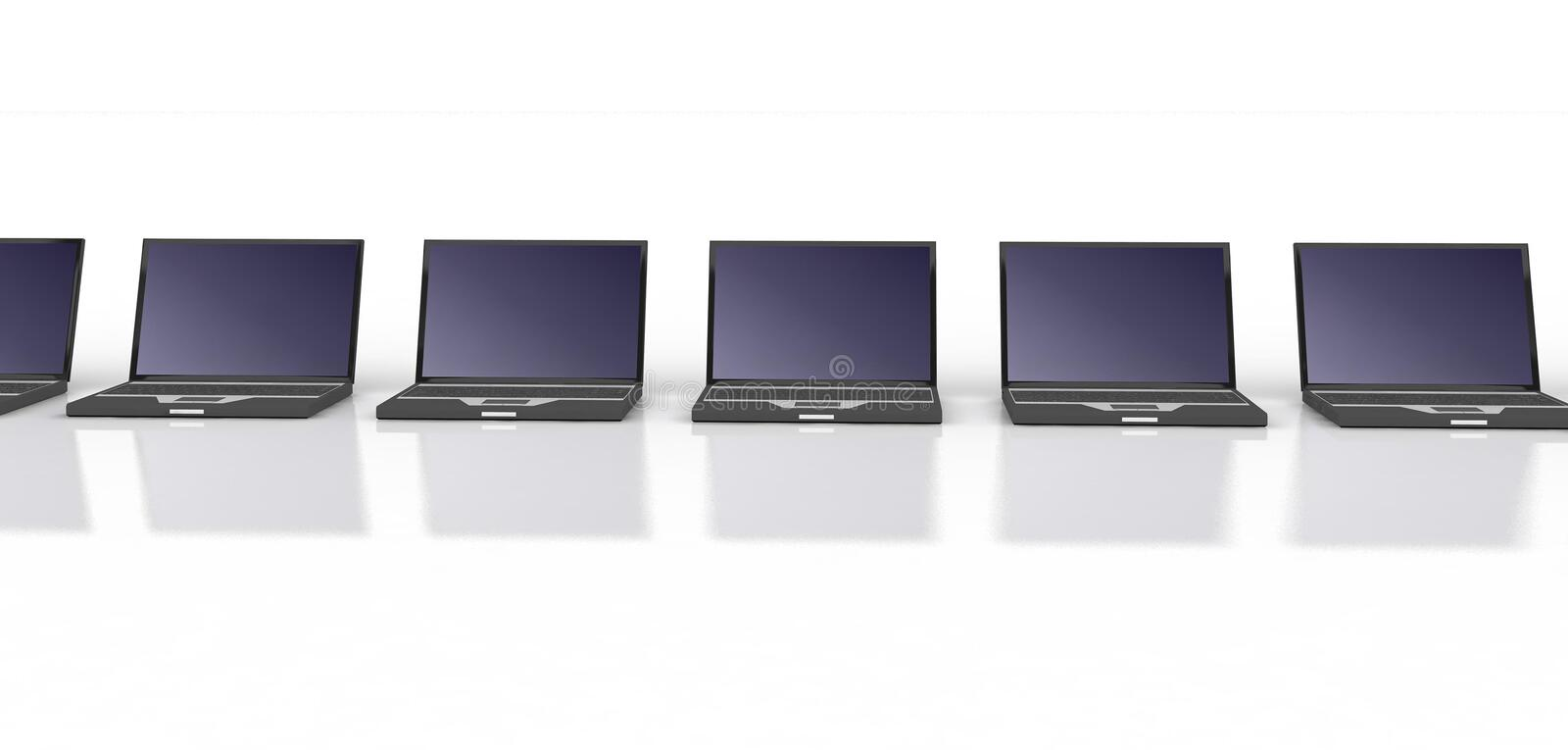 Row Of Black Laptops Stock Photography