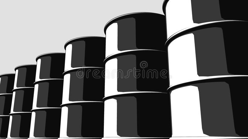 Row of black oil barrels. Cartoon version for presentations and reports. 3D rendering royalty free illustration