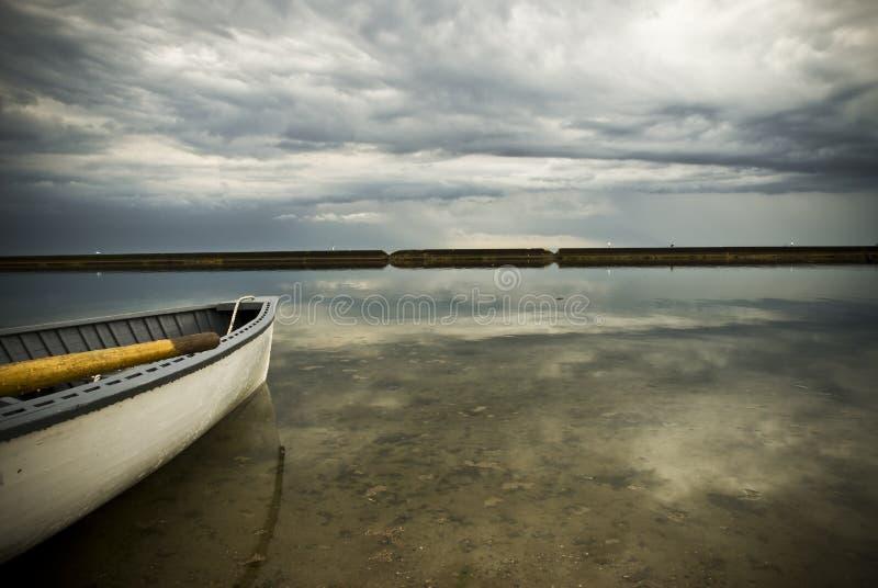 Row boat at sunnyside toronto royalty free stock images