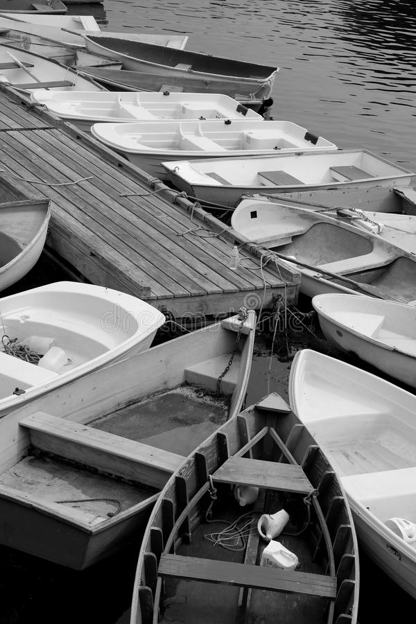 Row Boats. In the Harbor in Ogunquit, Maine. Black and white photo stock photo