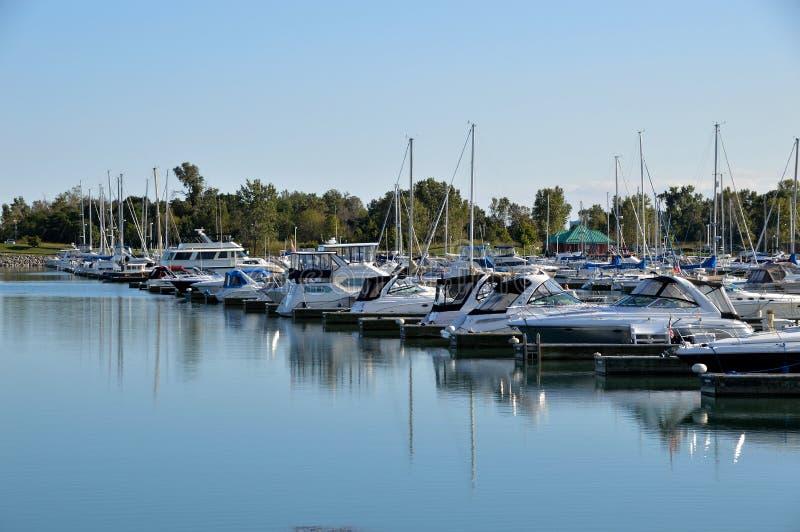 Row of boats in harbor royalty free stock photo