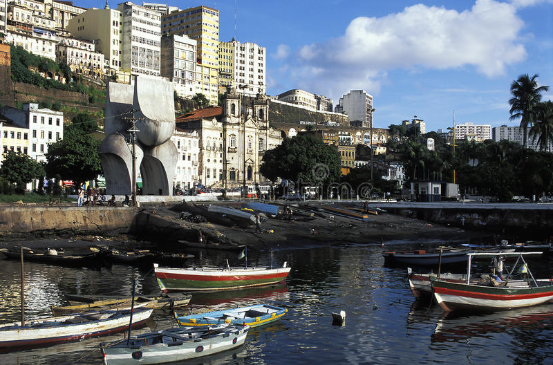 Row boats in harbor, Salvador, Brazil. royalty free stock image