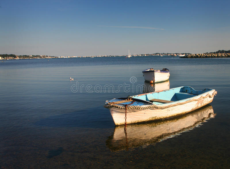 Row Boats - Poole Harbour. Setting sunlight glows across two row boats anchored in glassy waters of Poole Harbour as a sea gull swims in the background. Poole stock photography