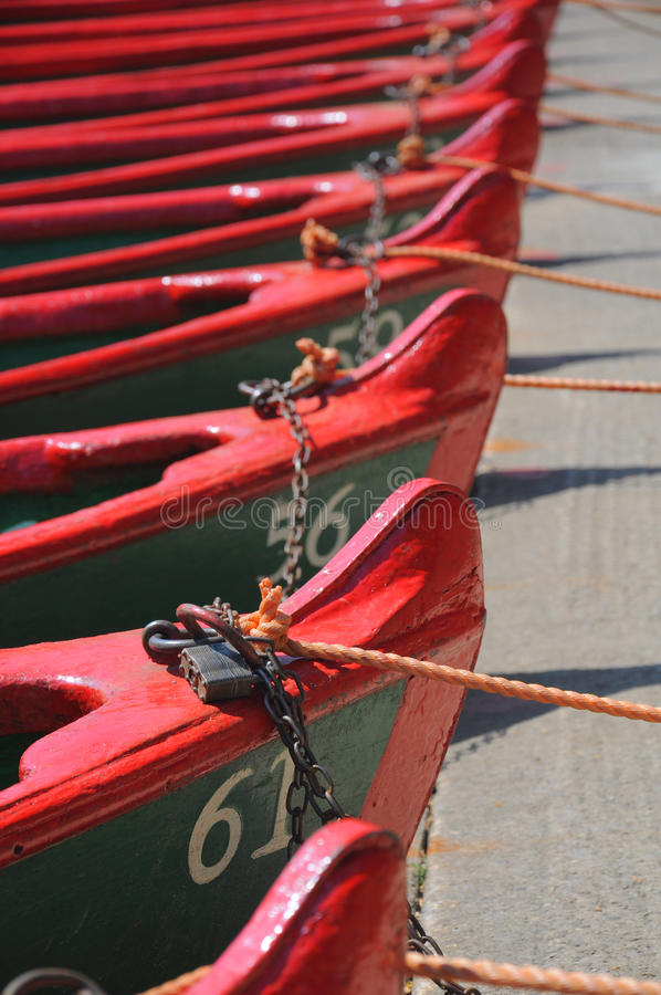 Row of boats with ropes and locks stock photography