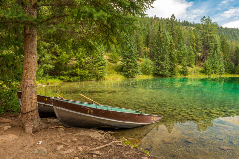 Row Boats on Valley of the Five Lakes. In Jasper National Park stock photography