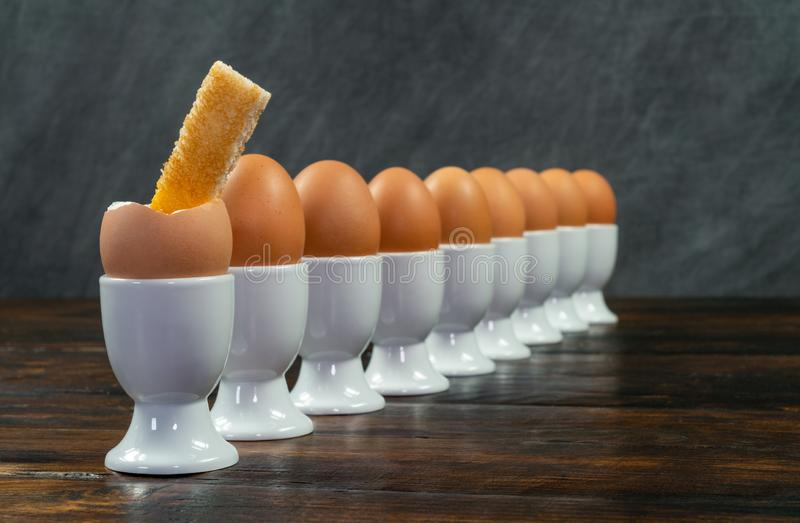 Row of Boiled Eggs in Egg Cups on a Table royalty free stock images