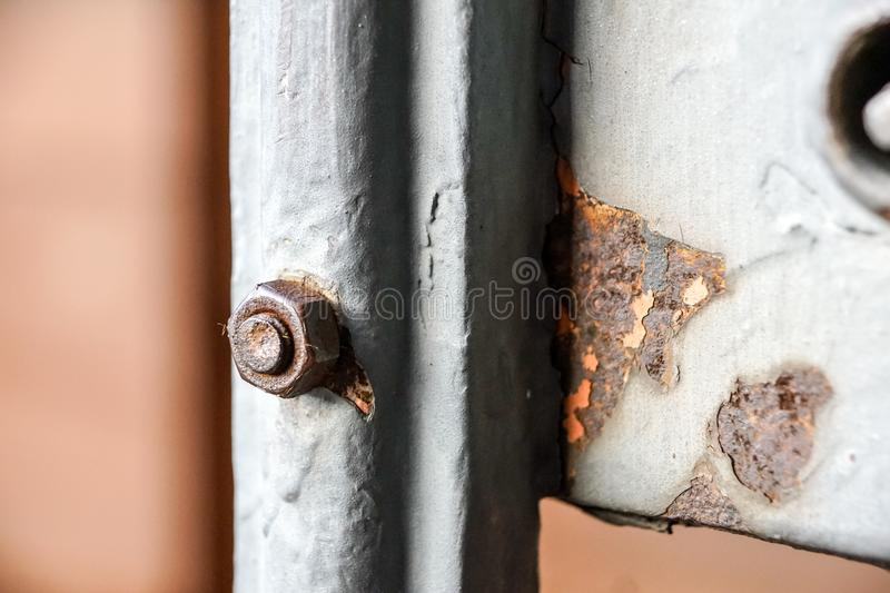 Row of bolt, and nuts closeup - steel construction detail. Row of bolt, and nuts closeup . steel construction detail royalty free stock photos