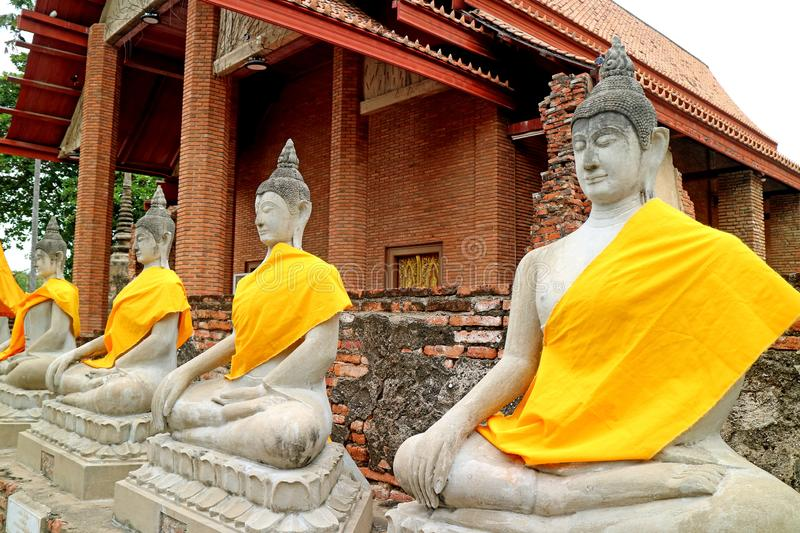 Row of the Buddha Images in Front of the Ordination Hall of Wat Yai Chai Mongkhon Temple, Ayutthaya, Thailand. Row of the Buddha Images in Front of the royalty free stock image