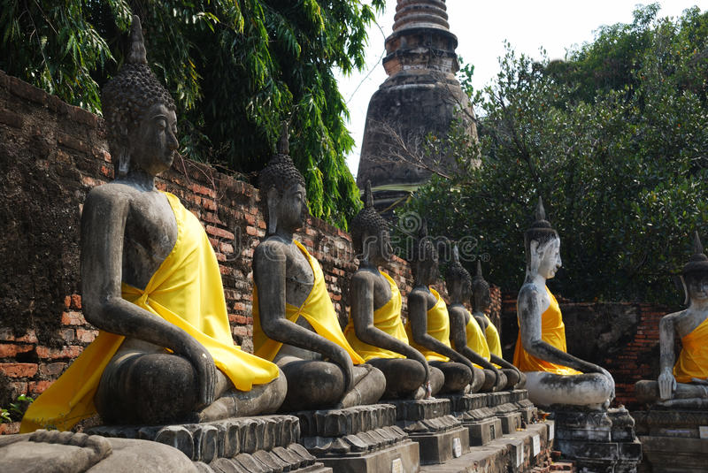Row of Buddha sculptures in thai temple royalty free stock photos