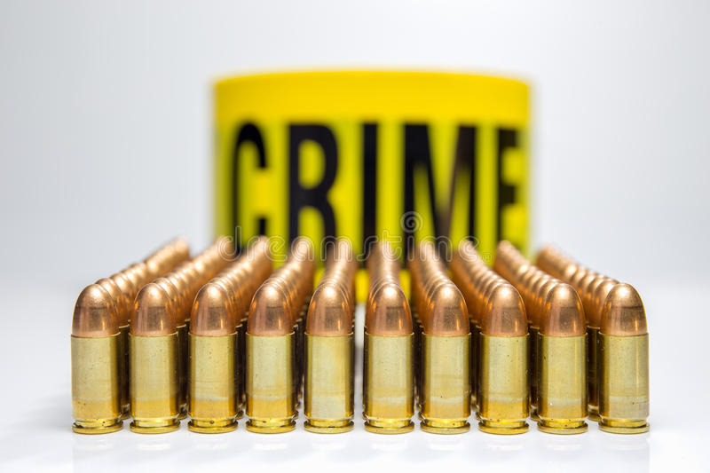Row of bullet and word crime background royalty free stock image