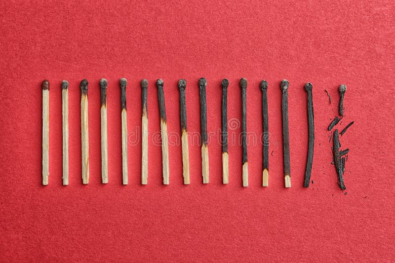 Row of burnt matches and whole one on color background. Human life phases concept. Row of burnt matches and whole one on color background, flat lay. Human life royalty free stock image