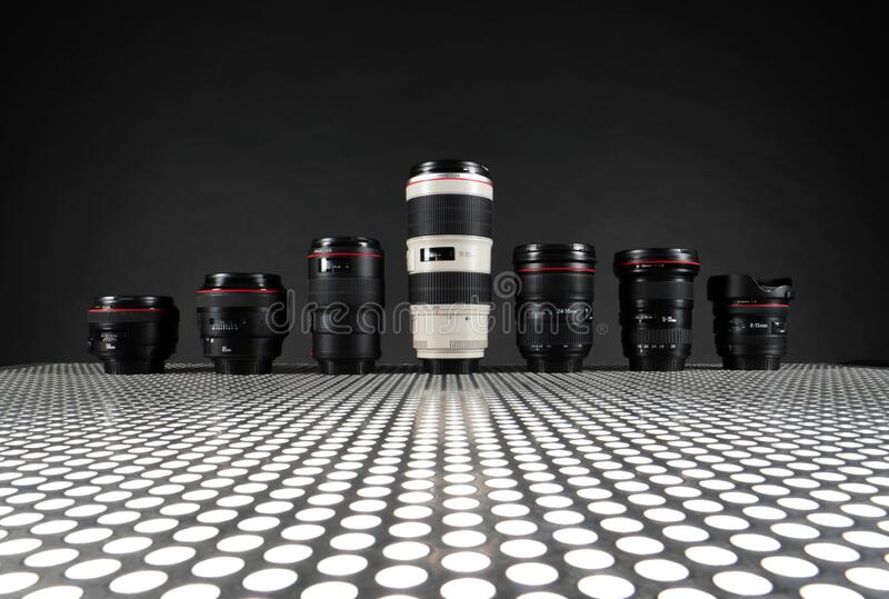 Row of camera lenses royalty free stock images
