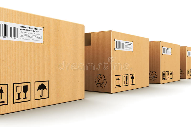 Row of cardboard boxes. Creative abstract shipping, logistics and retail parcel goods delivery commercial business concept: row of corrugated paper cardboard box vector illustration