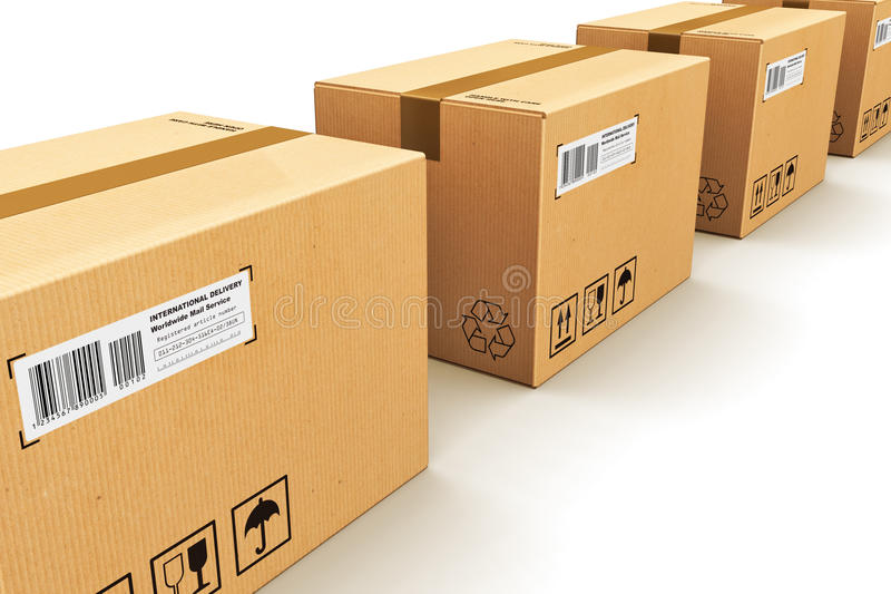 Row of cardboard boxes. Shipping, logistics and retail goods delivery commercial business concept: row of corrugated cardboard box packages isolated on white royalty free illustration