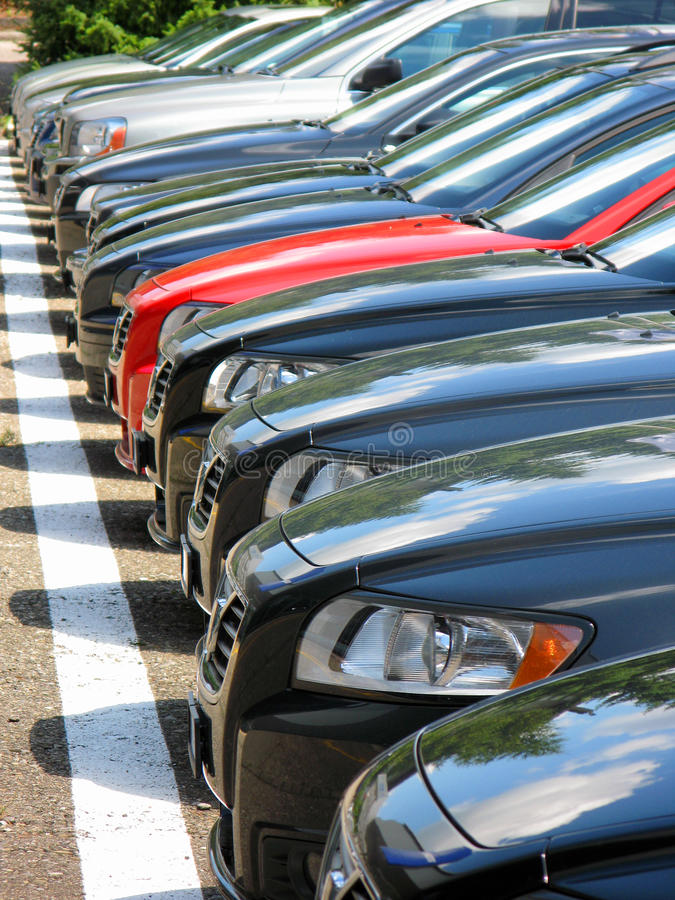 Row of cars stock image