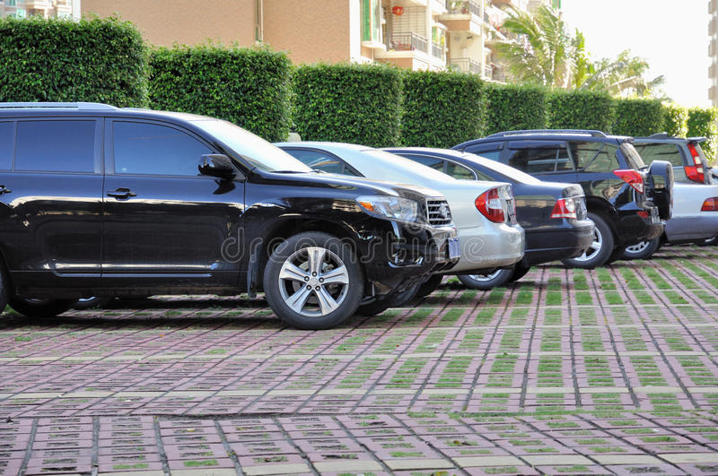 Row of cars parking stock photo