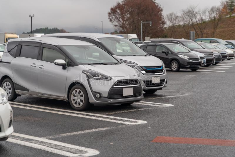 row of cars in parking royalty free stock photos