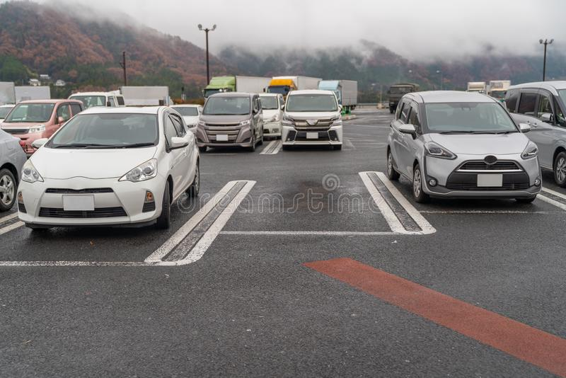 row of cars in parking royalty free stock images