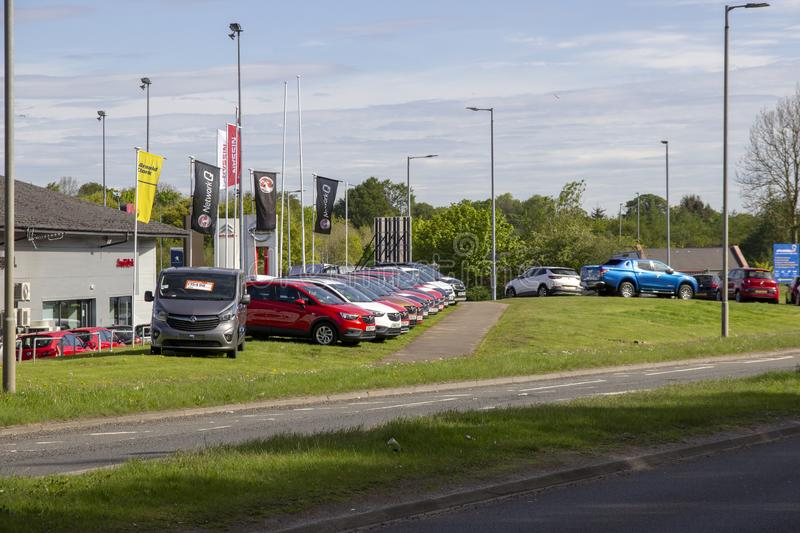 Row of cars for sale stock image