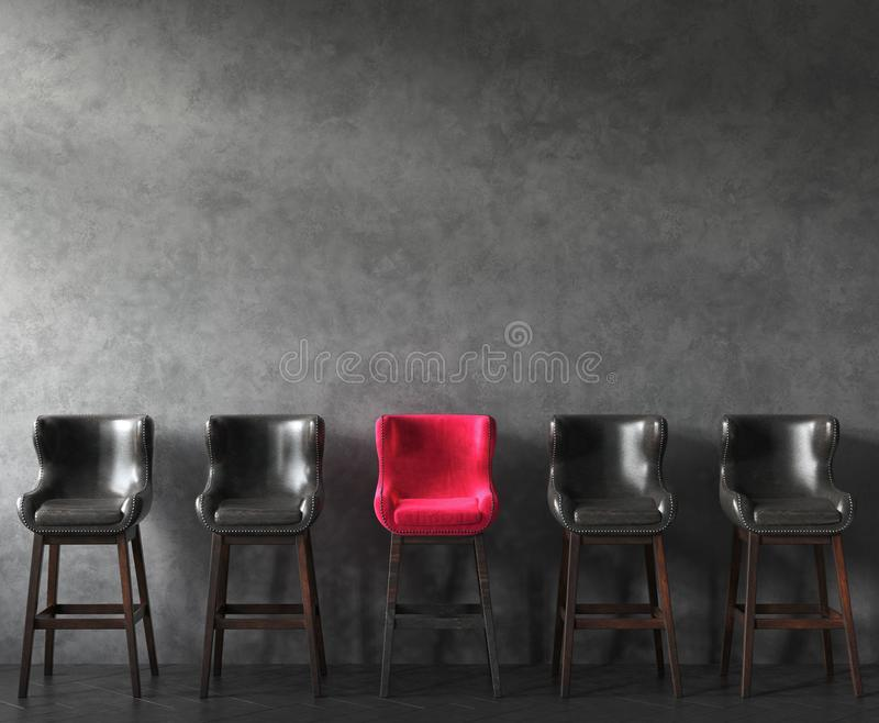 Row of chairs with outstanding pink one. Job opportunity royalty free stock image