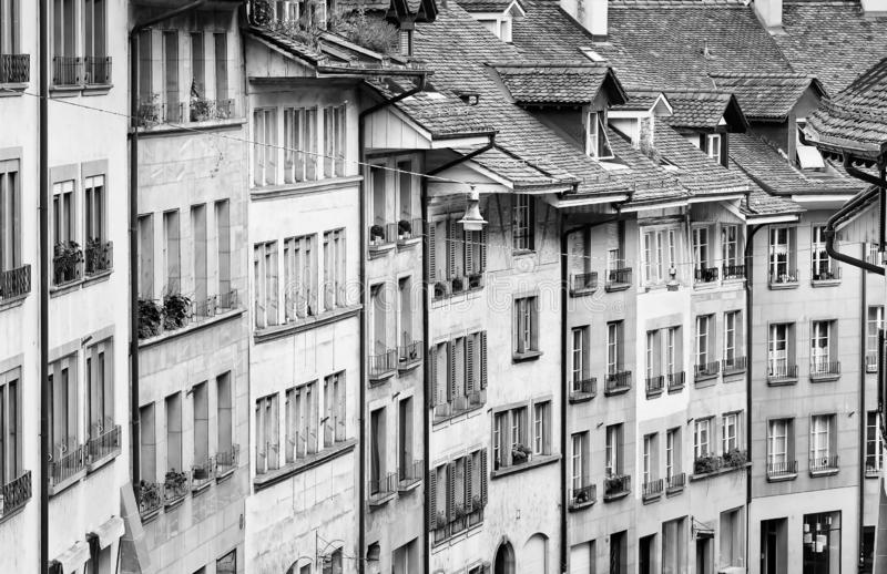 Row of characteristic ancient houses in the historical center of Bern, Switzerland royalty free stock photo