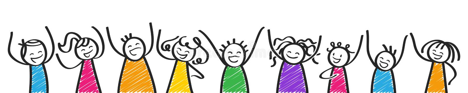 Row of cheering colorful stick people, banner, happy kids, men and women, black and white stick figures vector illustration