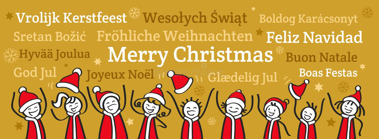 Row of cheering stick people wearing Santa Claus costumes, Christmas banner, greetings in different languages stock illustration