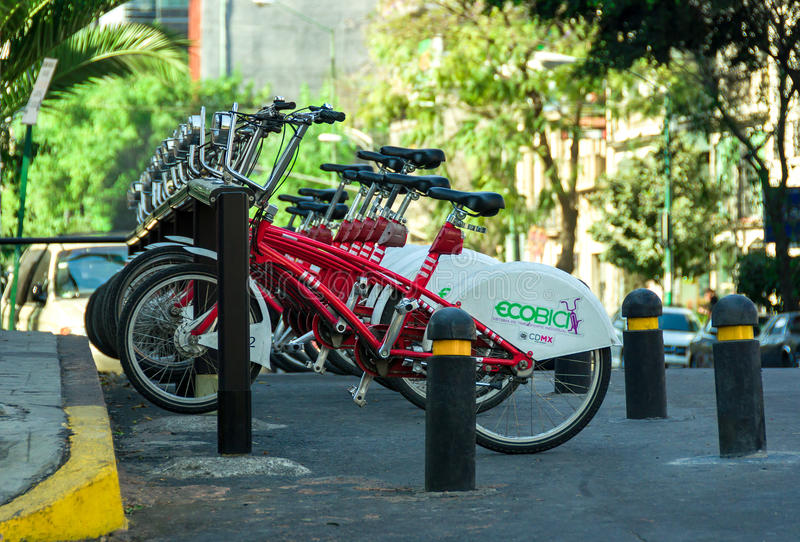 Row of city bikes for rent in Mexico City, Mexico stock images