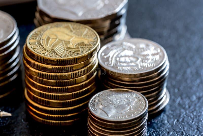Row of coins Australian finance concept. Row of coins Australian Currency finance concept royalty free stock photos