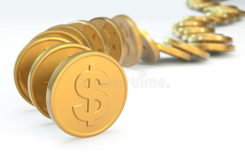 Row Of Coins Collapsing Royalty Free Stock Image
