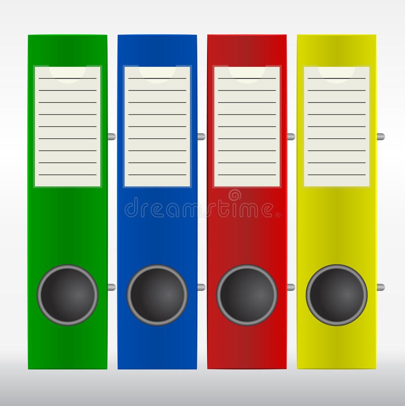 Download Row of color binders stock vector. Image of file, organize - 33591094