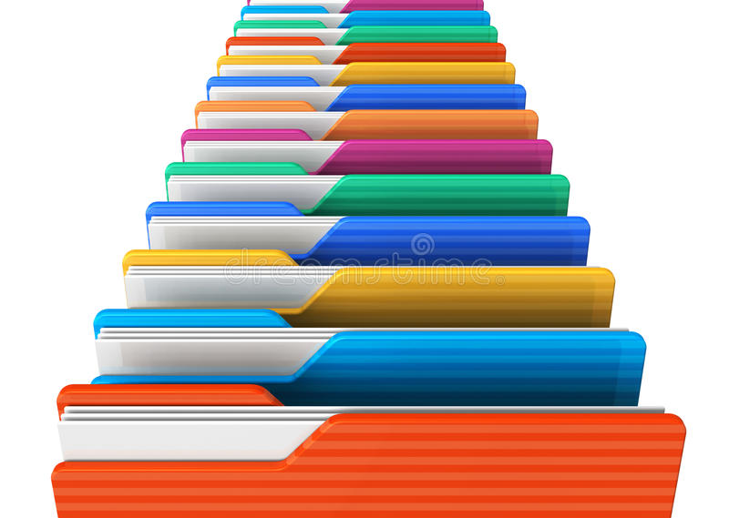 Row of color folders royalty free illustration