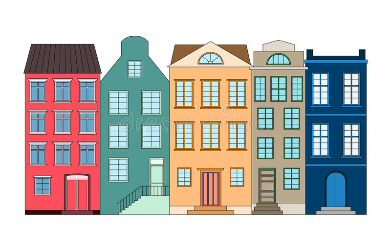 Awe Inspiring Row Of Houses Vector Illustration Stock Vector Download Free Architecture Designs Scobabritishbridgeorg